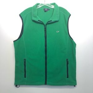 Vineyard Vines Fleece Green Navy Vest Zipper XL